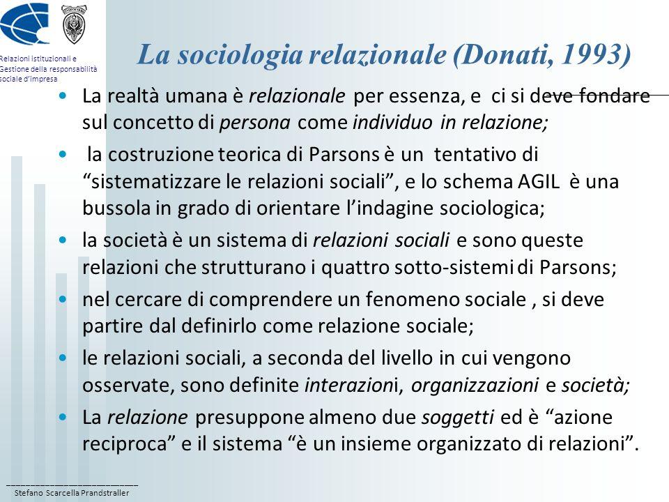 La sociologia relazionale (Donati, 1993)