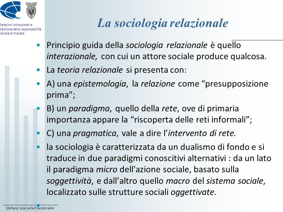 La sociologia relazionale