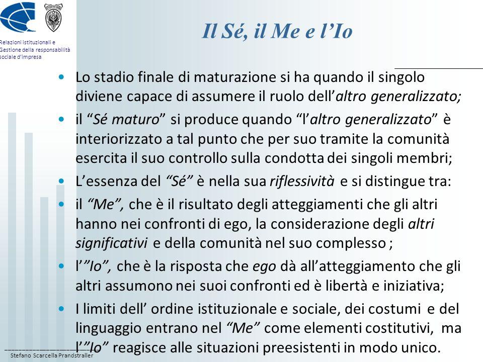 Il Sé, il Me e l'Io Lo stadio finale di maturazione si ha quando il singolo diviene capace di assumere il ruolo dell'altro generalizzato;