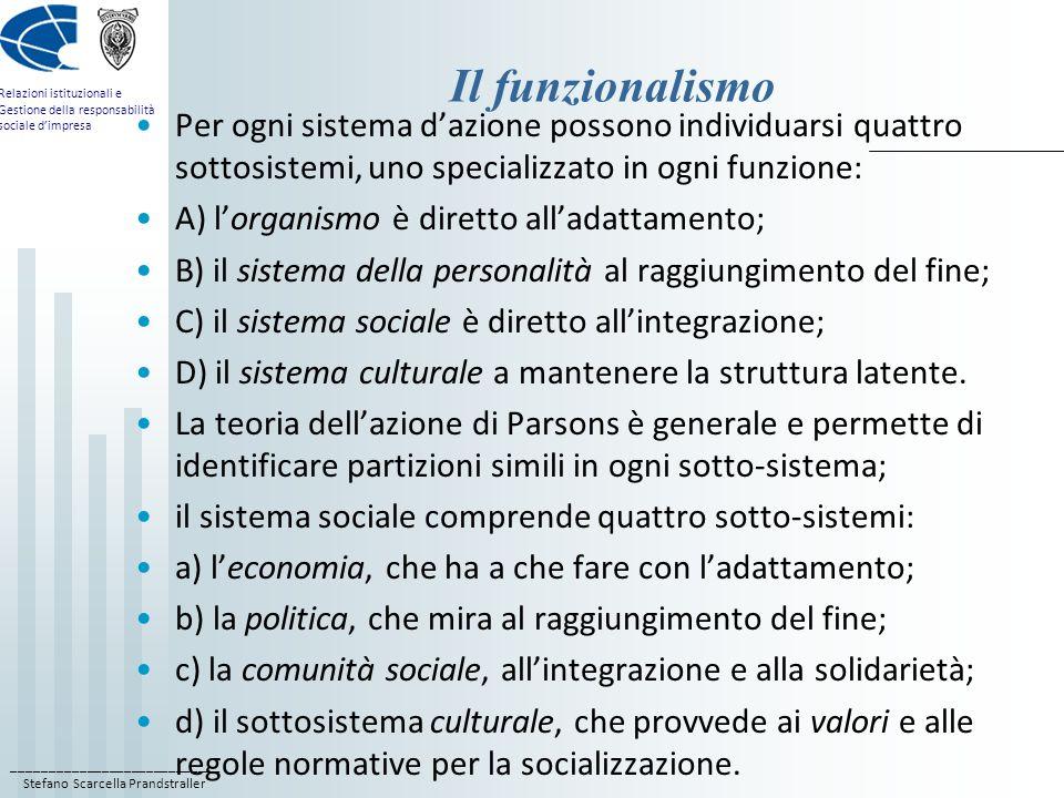 Il funzionalismo Per ogni sistema d'azione possono individuarsi quattro sottosistemi, uno specializzato in ogni funzione: