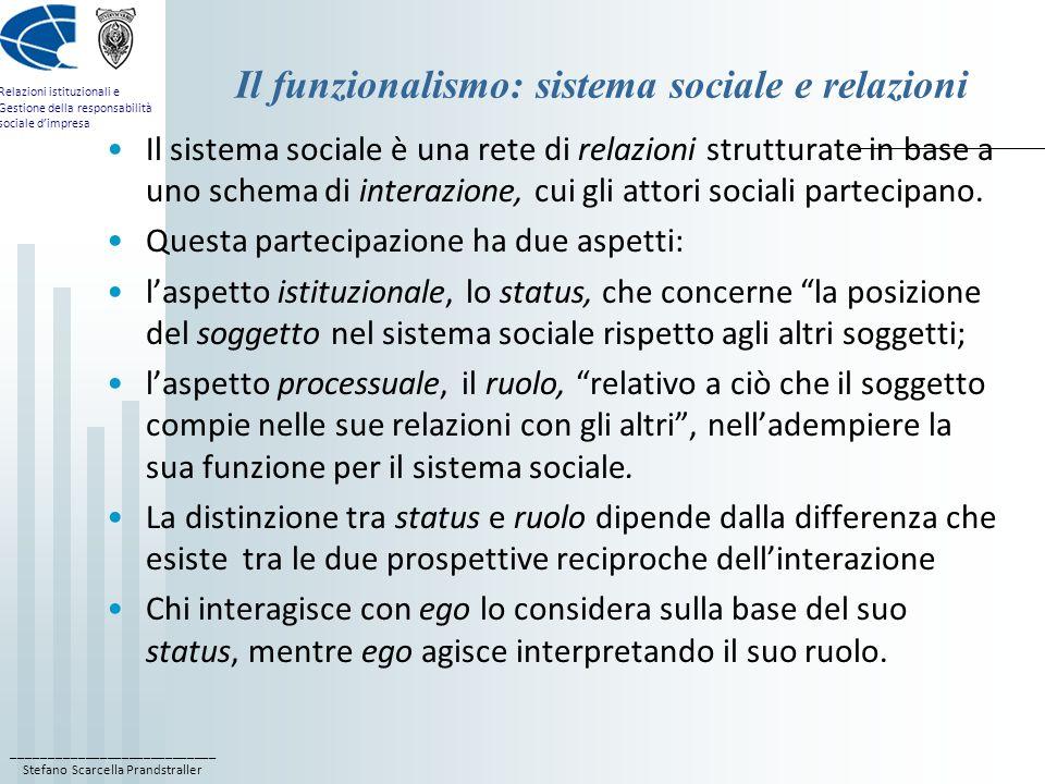 Il funzionalismo: sistema sociale e relazioni