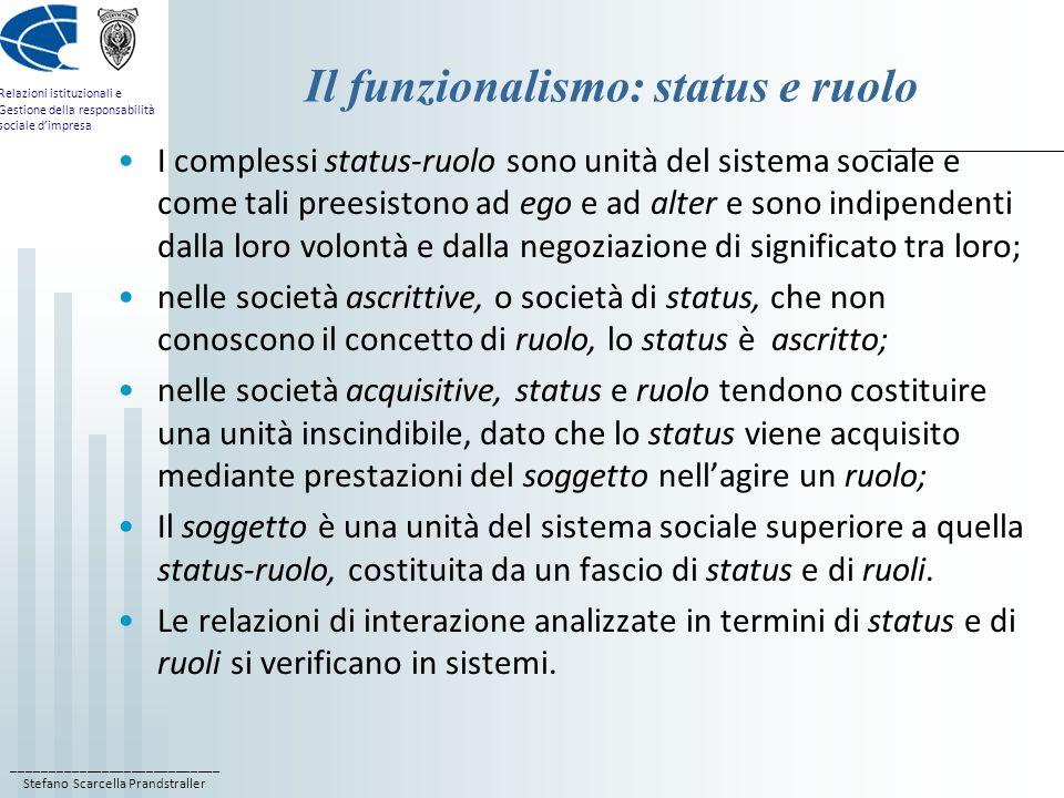 Il funzionalismo: status e ruolo