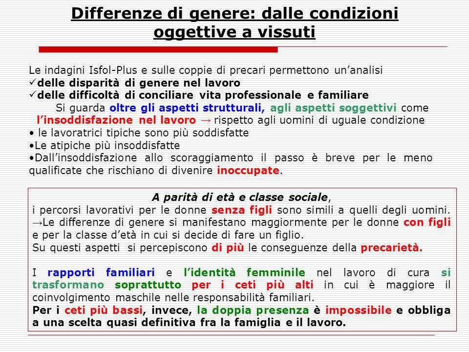 Differenze di genere: dalle condizioni oggettive a vissuti
