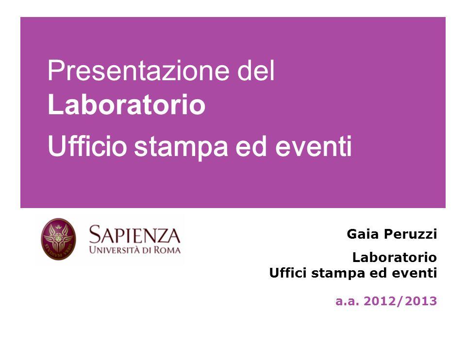 Presentazione del Laboratorio Ufficio stampa ed eventi