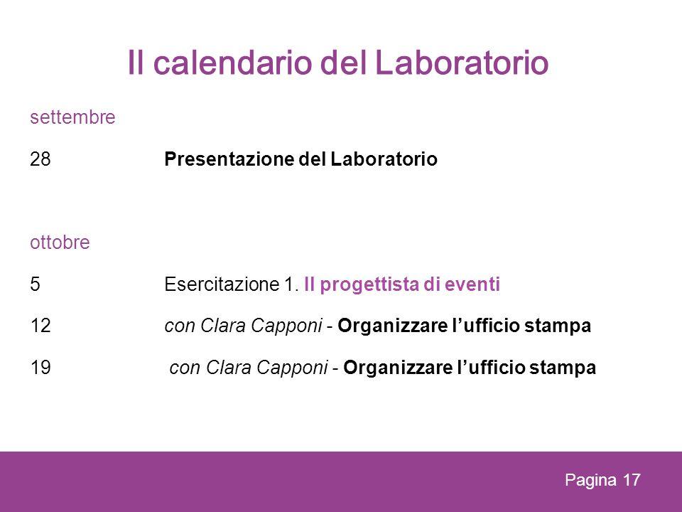 Il calendario del Laboratorio