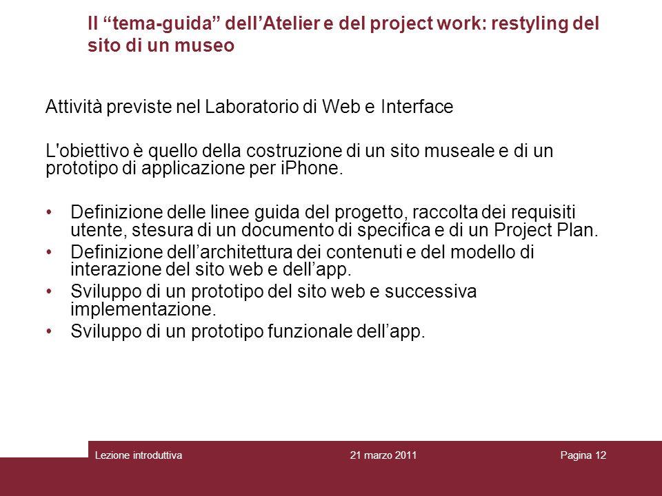 Attività previste nel Laboratorio di Web e Interface