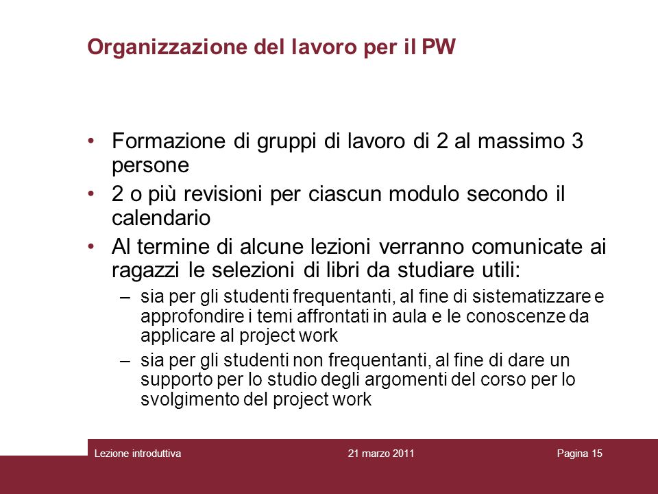 Organizzazione del lavoro per il PW