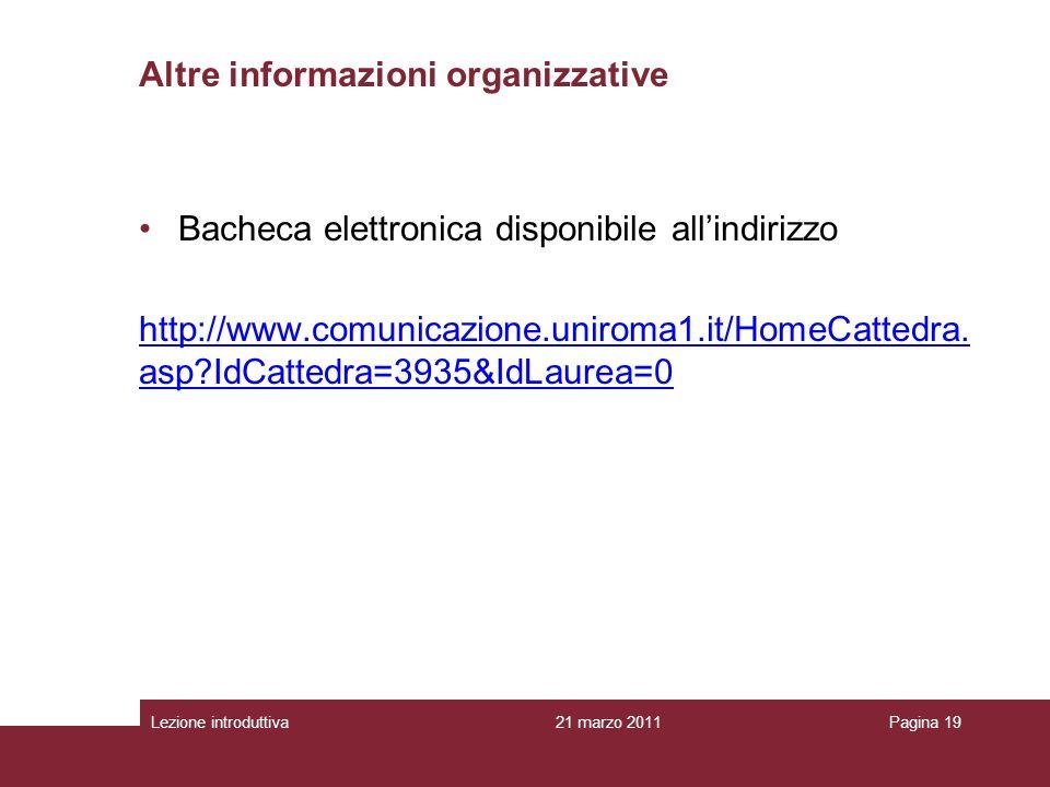 Altre informazioni organizzative