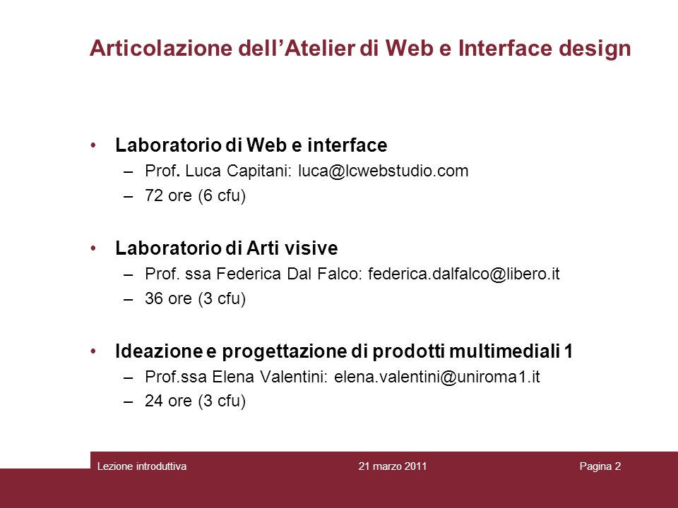 Articolazione dell'Atelier di Web e Interface design