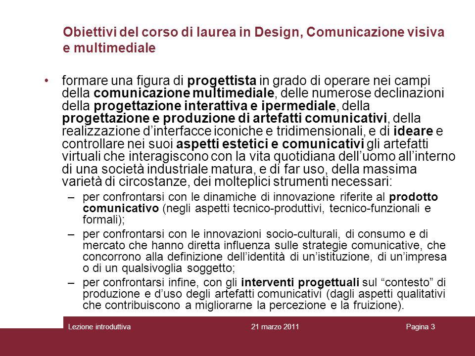 Obiettivi del corso di laurea in Design, Comunicazione visiva e multimediale