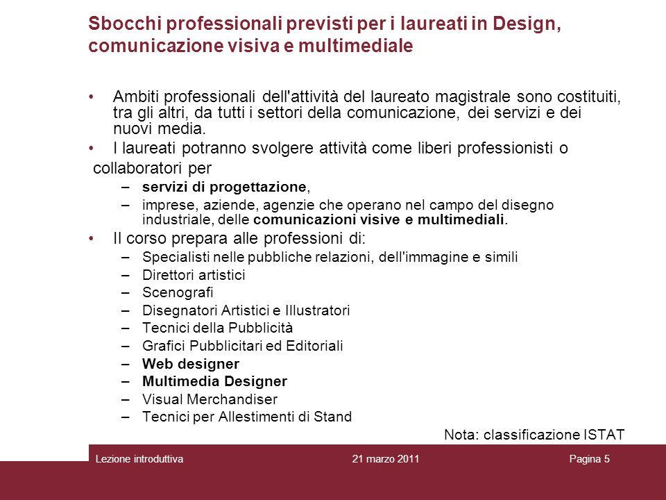 Sbocchi professionali previsti per i laureati in Design, comunicazione visiva e multimediale