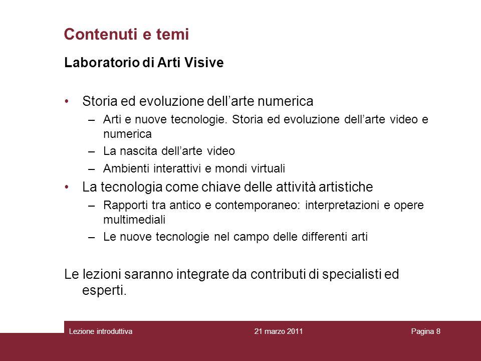 Contenuti e temi Laboratorio di Arti Visive