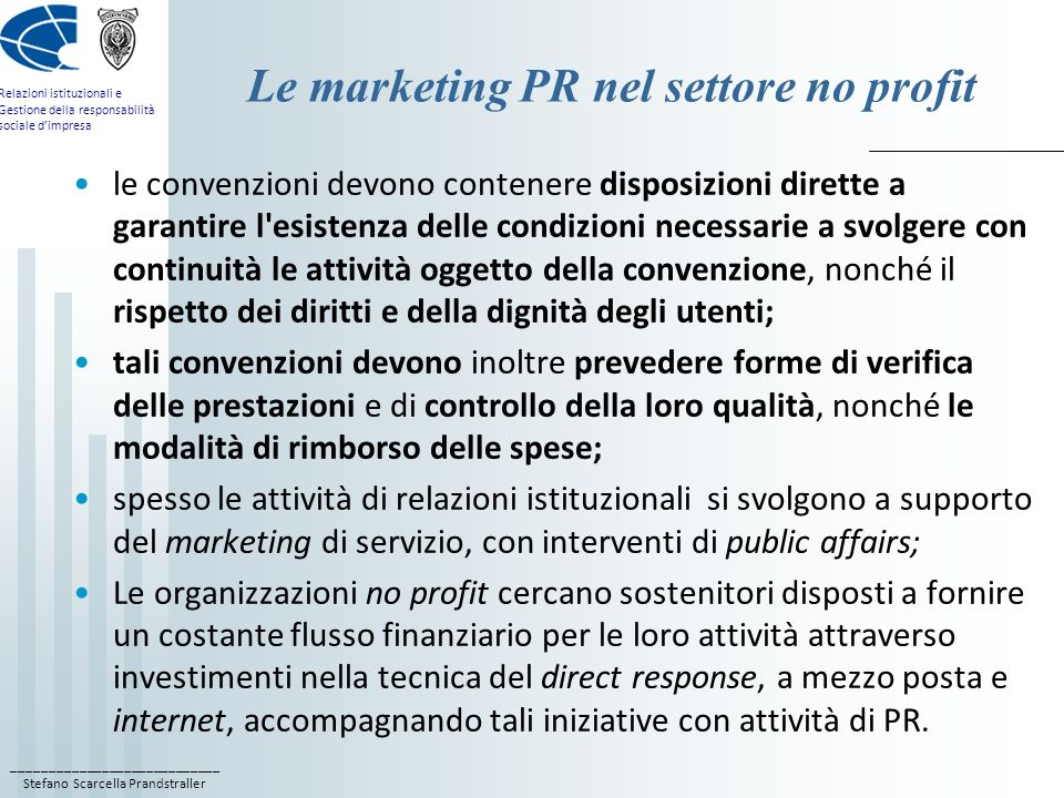 Le marketing PR nel settore no profit