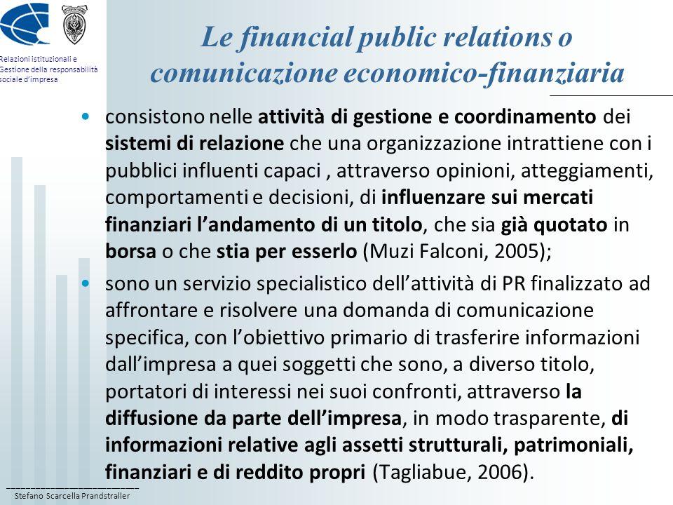 Le financial public relations o comunicazione economico-finanziaria