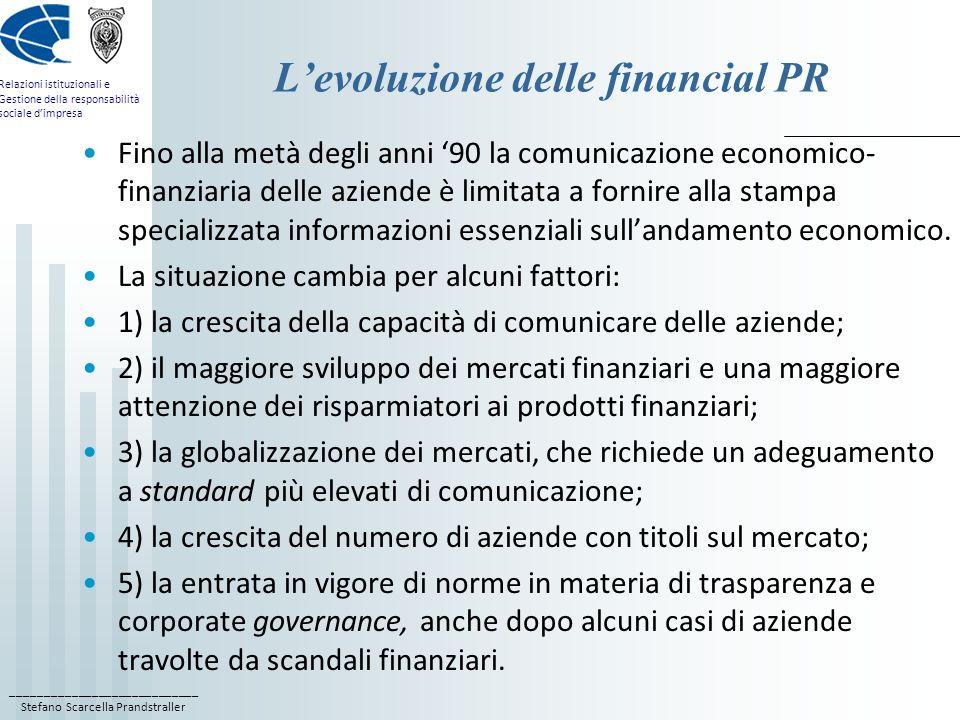 L'evoluzione delle financial PR