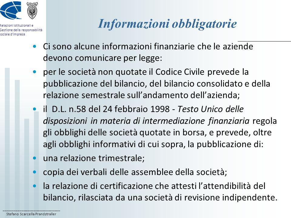 Informazioni obbligatorie