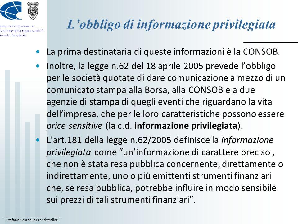 L'obbligo di informazione privilegiata
