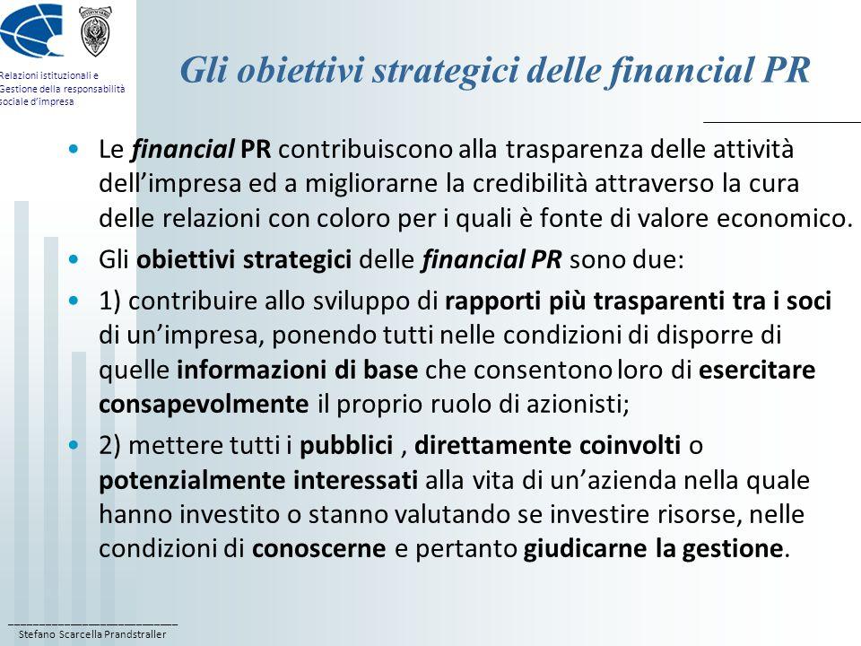 Gli obiettivi strategici delle financial PR