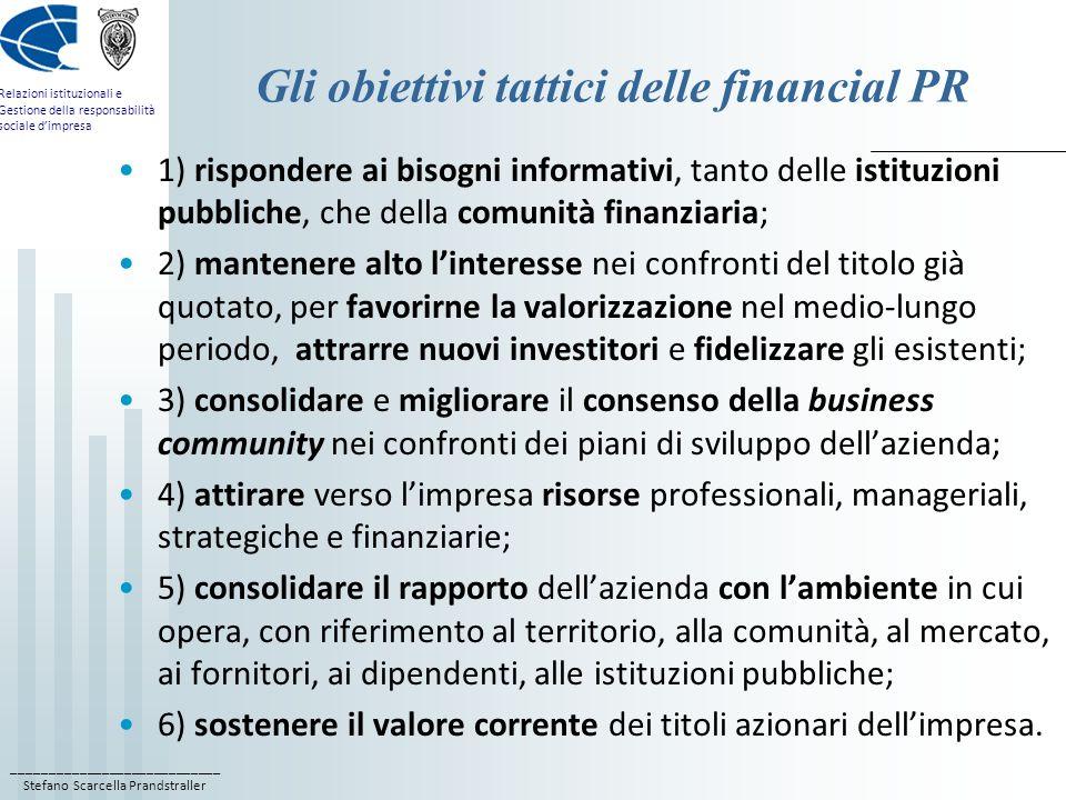 Gli obiettivi tattici delle financial PR