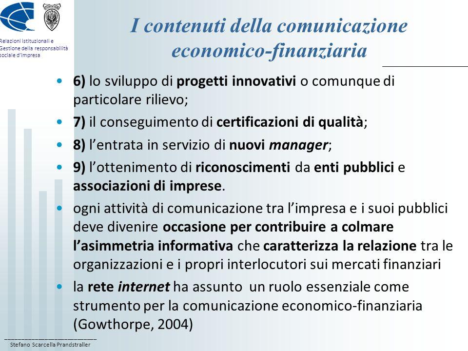 I contenuti della comunicazione economico-finanziaria