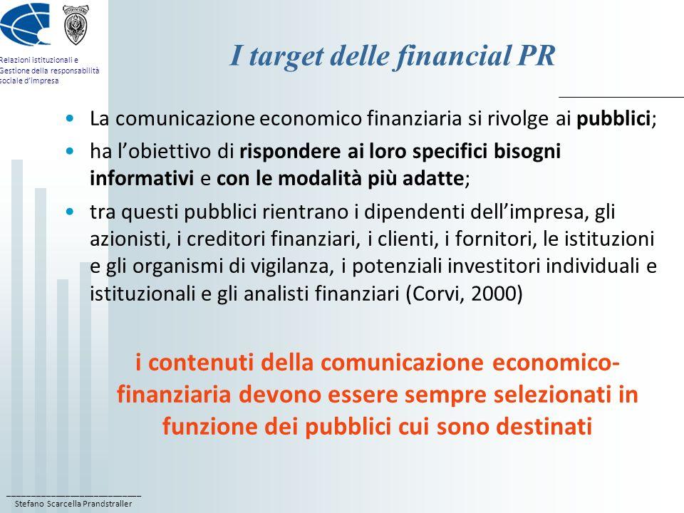 I target delle financial PR