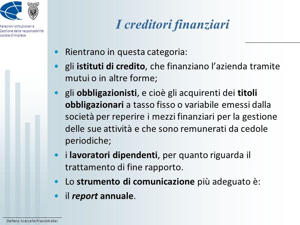 I creditori finanziari