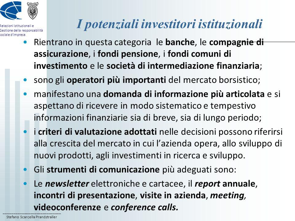 I potenziali investitori istituzionali