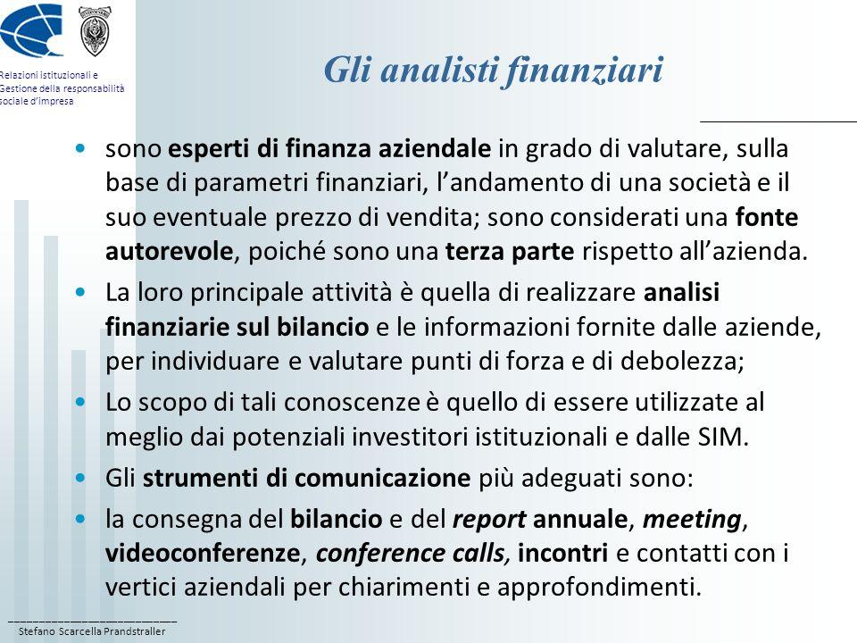 Gli analisti finanziari