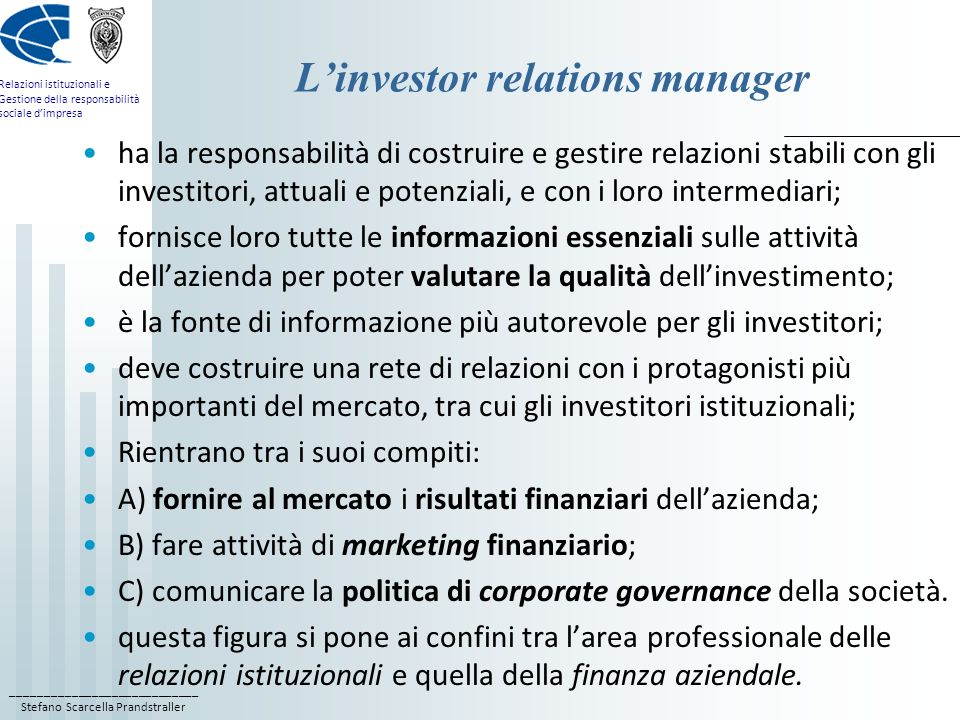 L'investor relations manager
