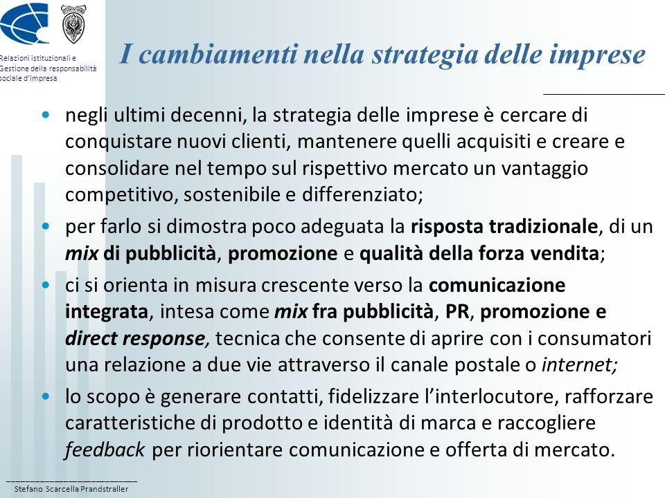 I cambiamenti nella strategia delle imprese