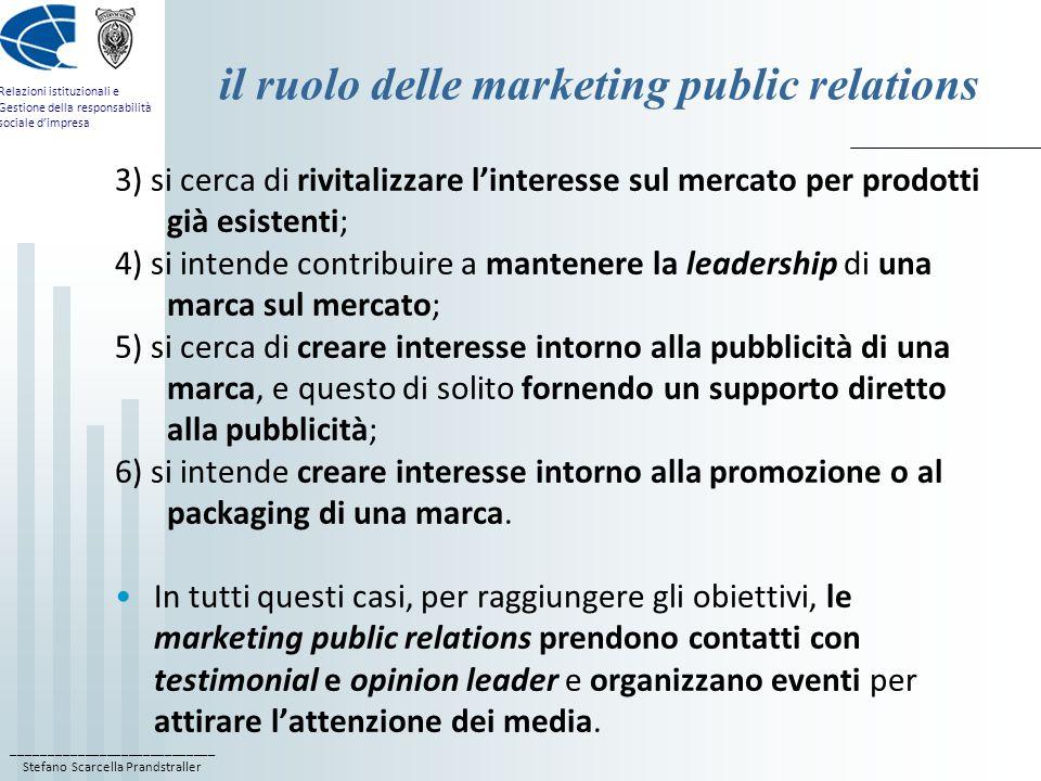 il ruolo delle marketing public relations
