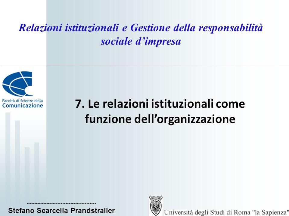 7. Le relazioni istituzionali come funzione dell'organizzazione