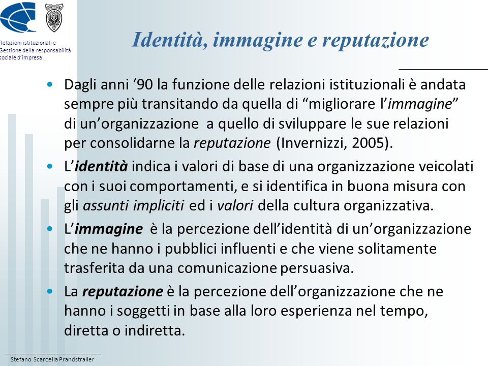 Identità, immagine e reputazione