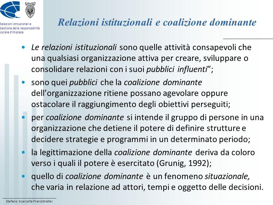 Relazioni istituzionali e coalizione dominante