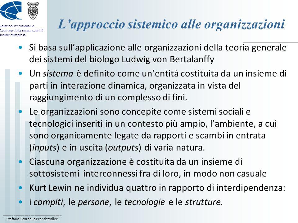 L'approccio sistemico alle organizzazioni