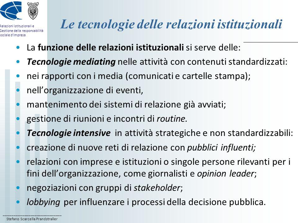 Le tecnologie delle relazioni istituzionali