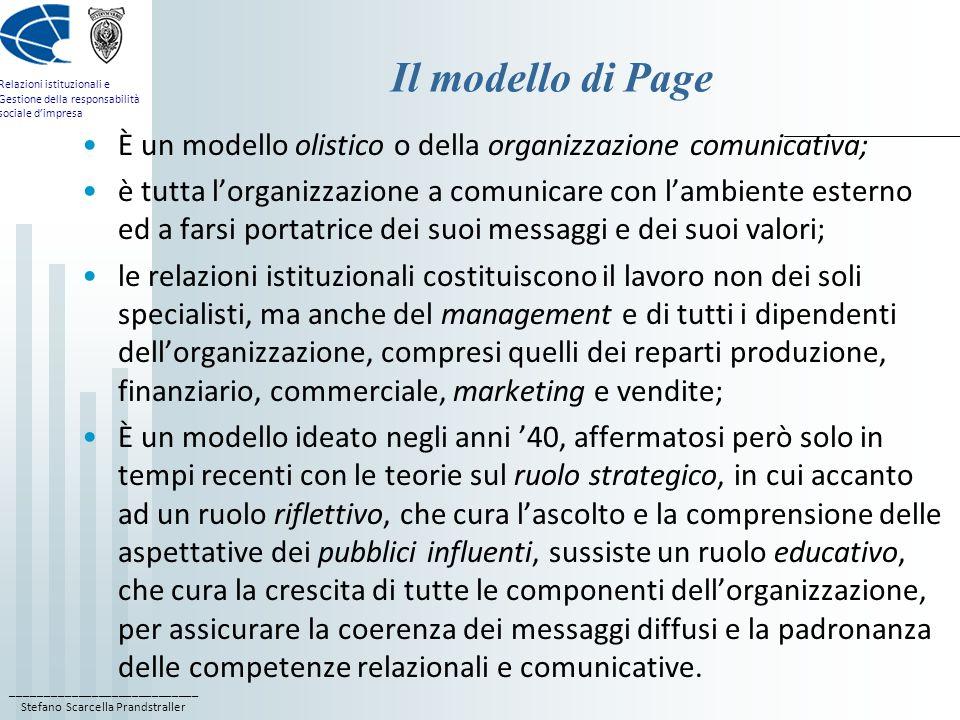 Il modello di Page È un modello olistico o della organizzazione comunicativa;