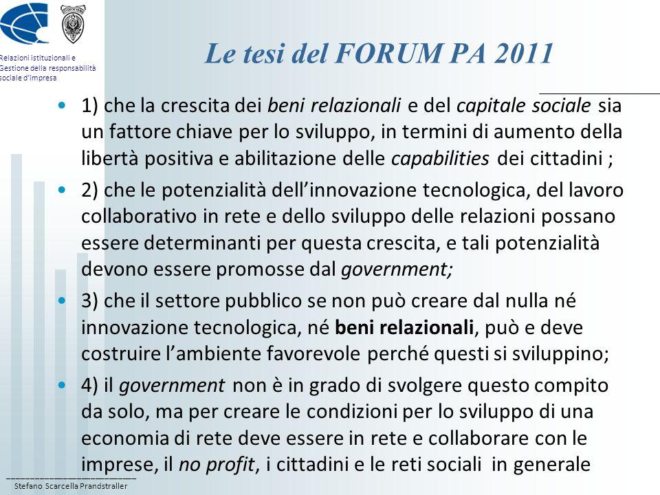 Le tesi del FORUM PA 2011