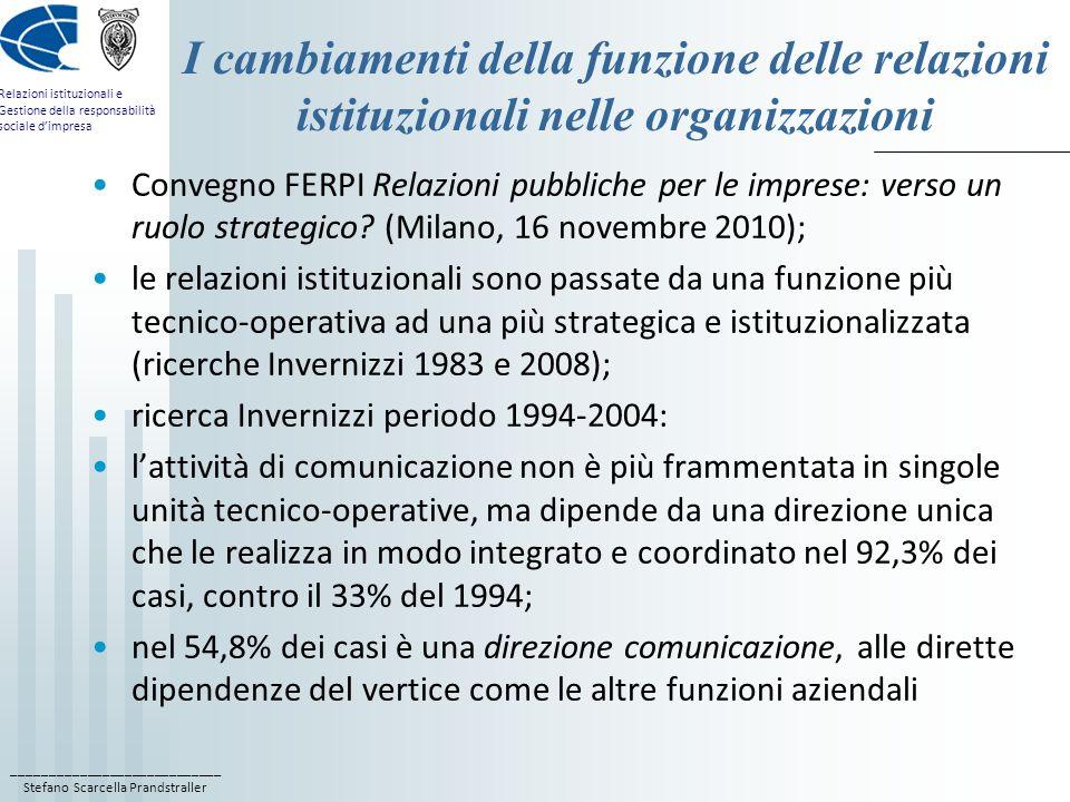 I cambiamenti della funzione delle relazioni istituzionali nelle organizzazioni