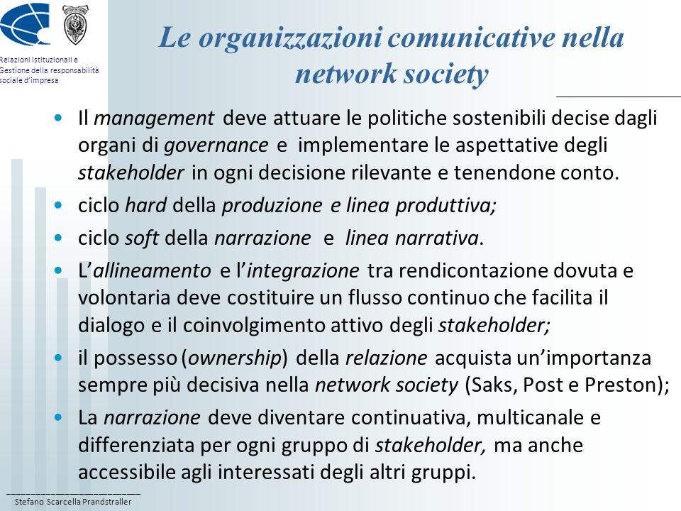 Le organizzazioni comunicative nella network society