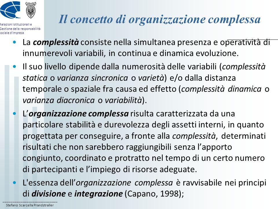 Il concetto di organizzazione complessa