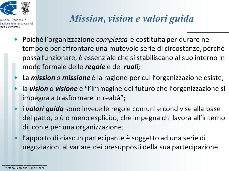 Mission, vision e valori guida