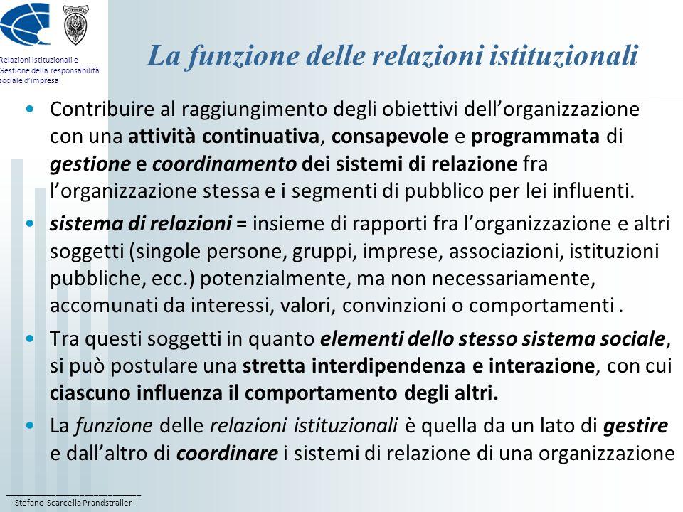 La funzione delle relazioni istituzionali