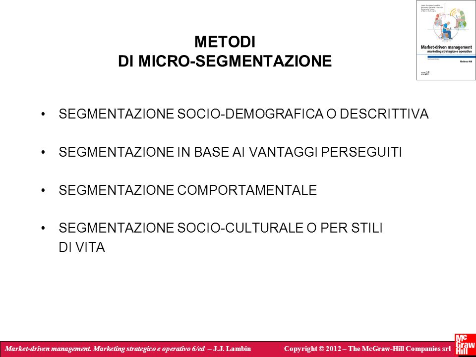 METODI DI MICRO-SEGMENTAZIONE