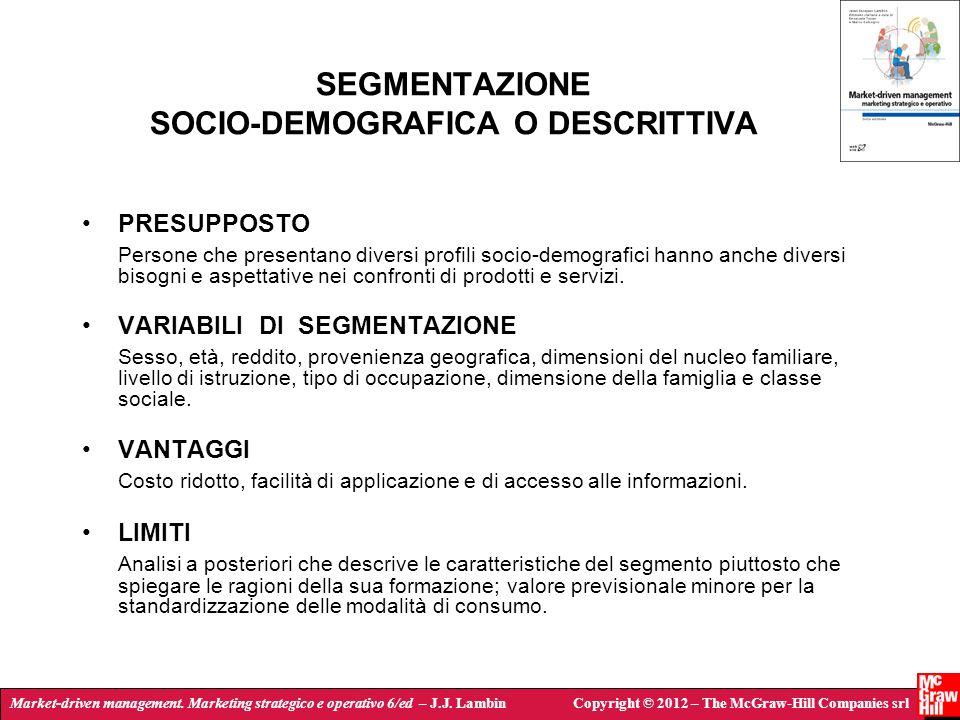 SEGMENTAZIONE SOCIO-DEMOGRAFICA O DESCRITTIVA