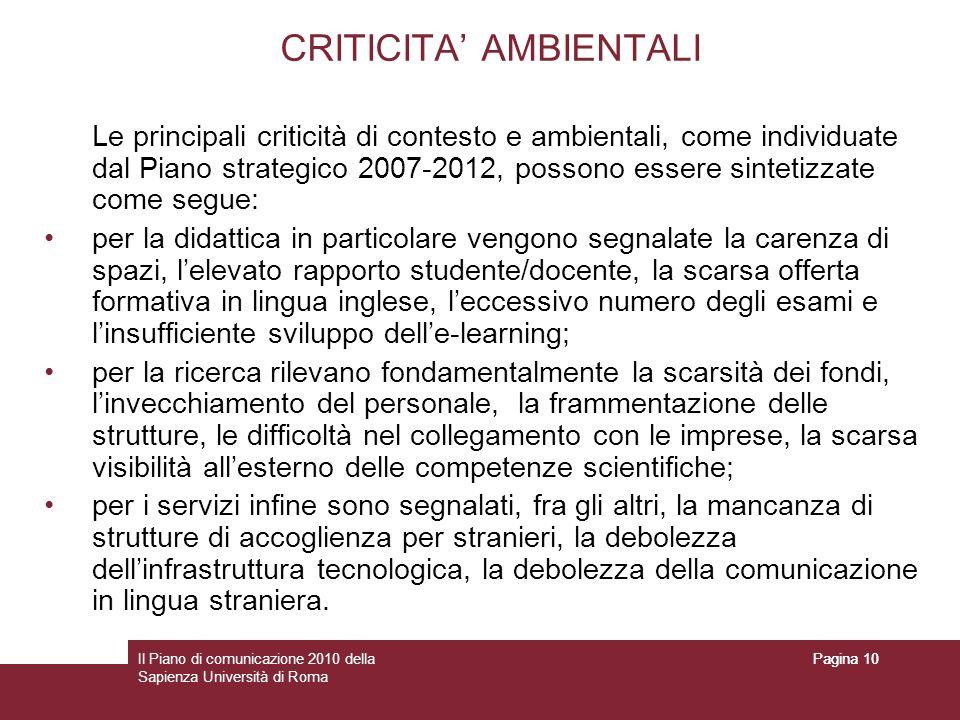 CRITICITA' AMBIENTALI