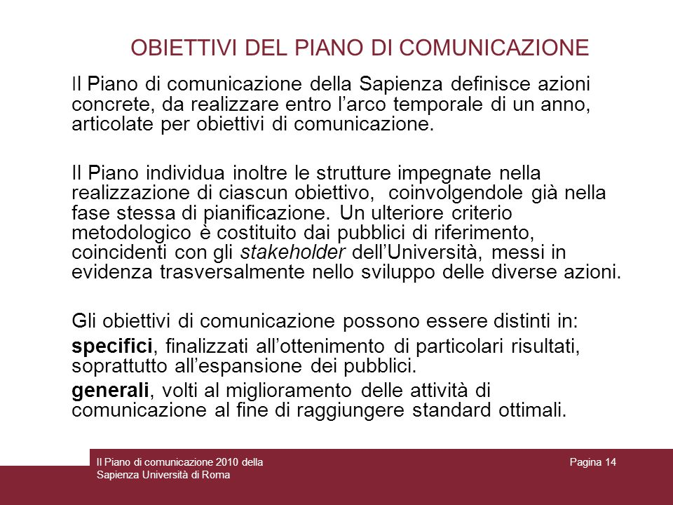OBIETTIVI DEL PIANO DI COMUNICAZIONE