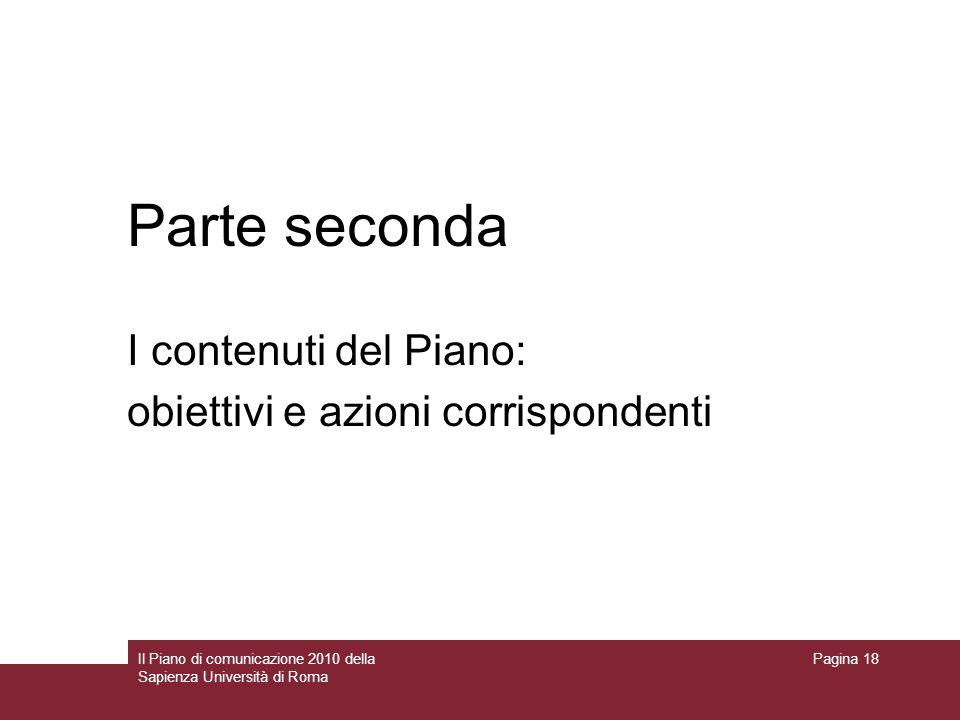 Parte seconda I contenuti del Piano: obiettivi e azioni corrispondenti