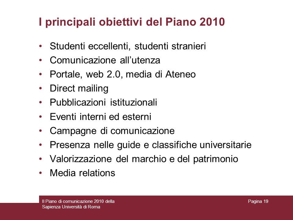 I principali obiettivi del Piano 2010