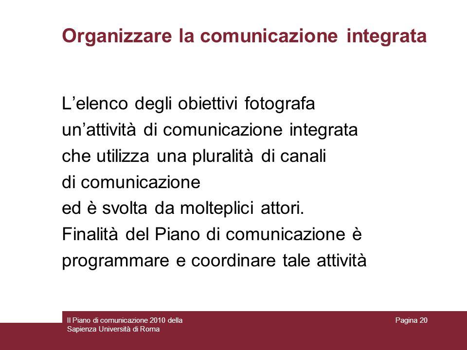 Organizzare la comunicazione integrata